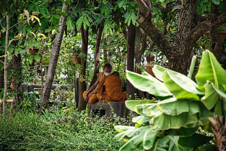 Man sitting by tree trunk