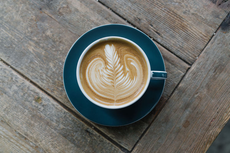 Coffee Coffee ☕ Espresso Latte Cafe Cafe Latte Cappuccino Close-up Coffee - Drink Coffee Cup Cup Directly Above Drink Food And Drink Froth Art Glass Indoors  Latte Art No People Refreshment Rosetta Table Top Down Wood - Material Wood Texture