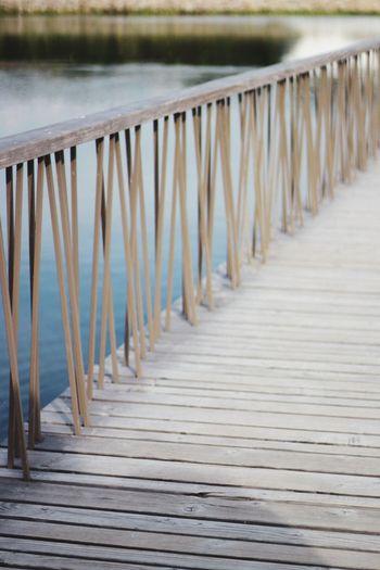 Wooden pier on footpath
