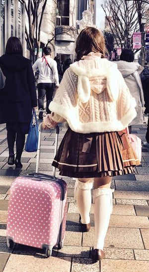 Only in Tokyo... City City Life Urbanphotography City Street People Consumerism Outdoors Real People Day Bunny  Pink Pink Color PINKY Tokyo Street Photography Fancy Dressed Young Adult Japanese Style Pink Suitcase Walking Omotesando Streetphotography Rear View Tokyo, Japan IPhoneography Tokyo Millennial Pink The Street Photographer The Street Photographer - 2017 EyeEm Awards