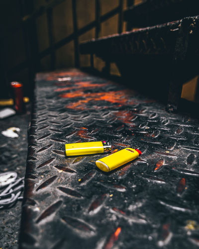 High angle view of yellow toy on table