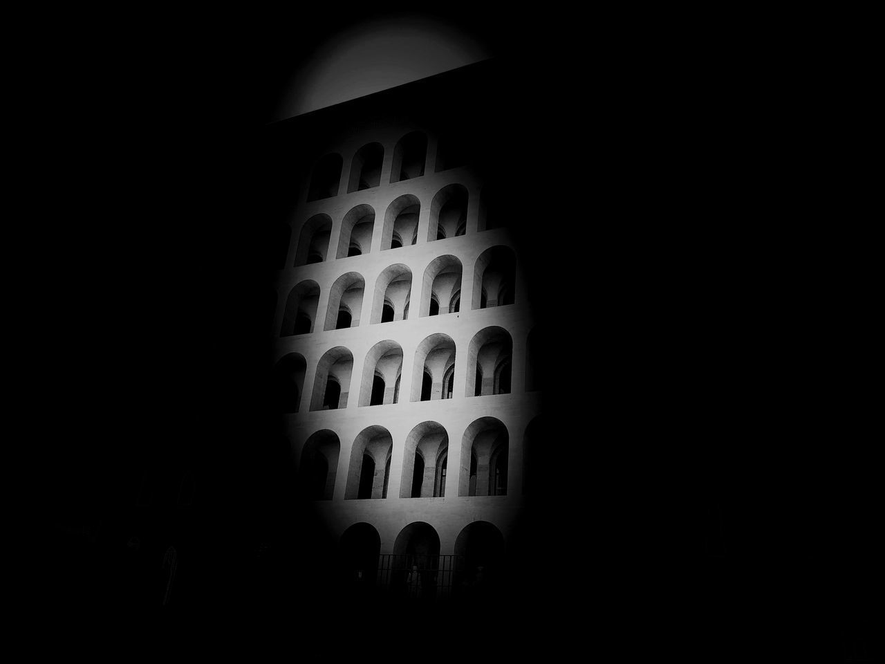 indoors, no people, copy space, dark, low angle view, built structure, architecture, window, night, pattern, arch, black background, design, studio shot, domestic room, building, nature, shape, architecture and art