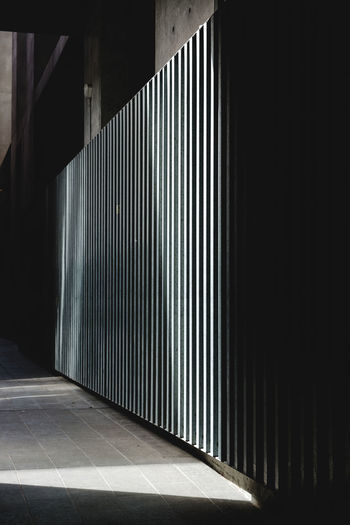 Sunlight falling in empty corridor