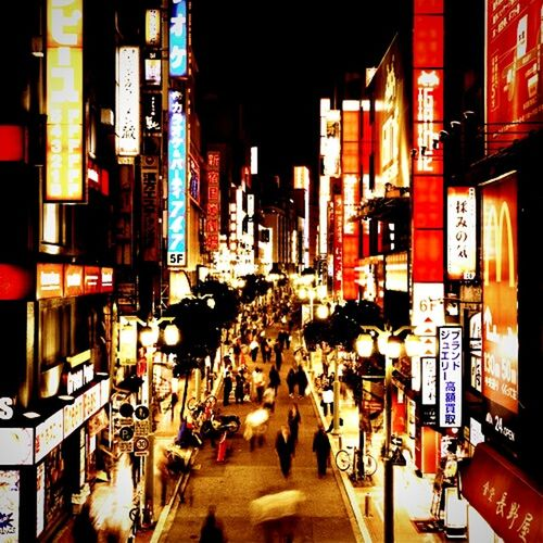 Busy Japan Night Lights On The Road Lively Many People Passing By Light And Shadow Cool Japan Place Moment Cold Alone Time