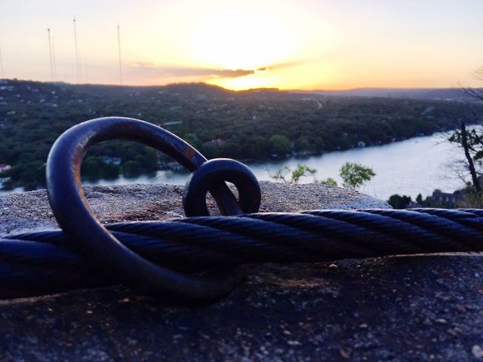 Sunset No People Nature Outdoors Close-up Sky Beauty In Nature Day Water Illuminated Austin Texas Nature Cable Metal Lake