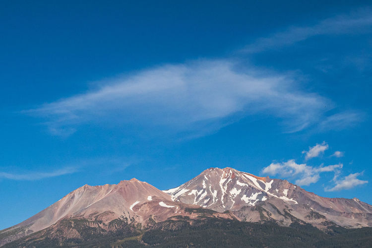 Mt. shasta california on sunny fall day and blue sky. panoramic