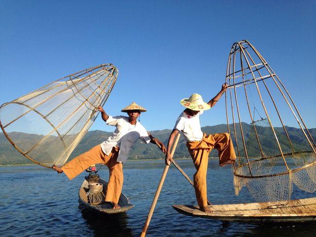 BYOPaper! Two People Fishing Net Tradition Fishing Teamwork Men Occupation Tailandia. Beautiful Nature