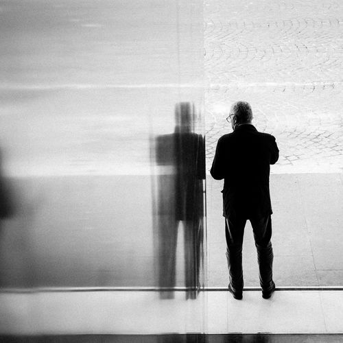 Alone Blackandwhite Bw Emotions Fineart Men Monochrome Portfolio Work Real People Reflections Standing Streetphotography Young Adult