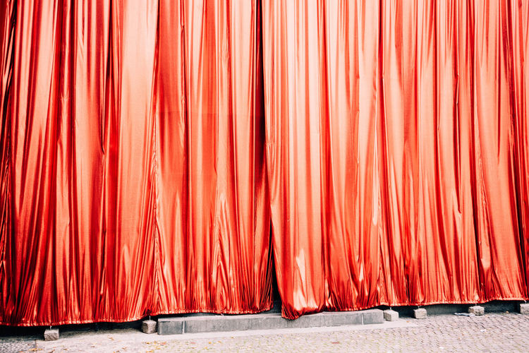 Close up of red curtain