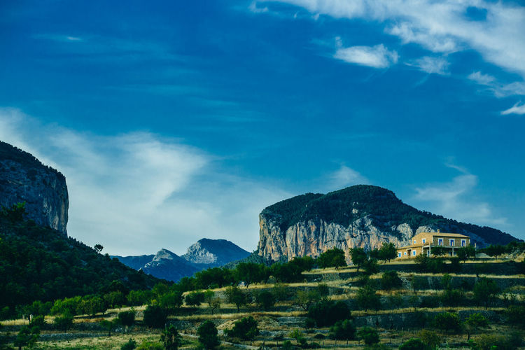 Mallorca SPAIN Architecture Beauty In Nature Blue Building Building Exterior Built Structure Cloud - Sky Day Environment Finca Holiday House Landscape Mountain Mountain Peak Mountain Range Nature No People Outdoors Plant Scenics - Nature Sky Tranquil Scene Tree