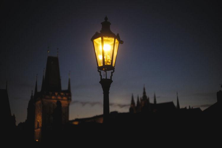 Art Castle Charles Bridge Dark Fine Art Photography Golden Hour Illuminated Lamp Light Low Angle View Prague Sky Street Light Sunset