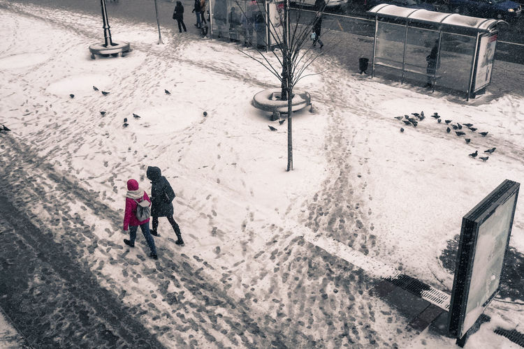 High Angle View Of People Walking In Snow