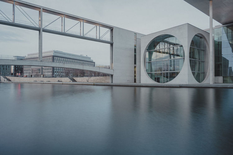 Futuristic architecture in berlin with water reflection