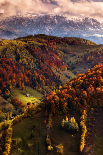 High angle view of landscape against sky during autumn