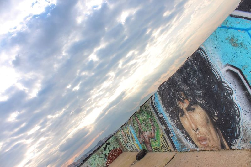 Murales, Diego Diego Maradona Portici Napoli Water Day Outdoors No People Cloud - Sky Sky Sea