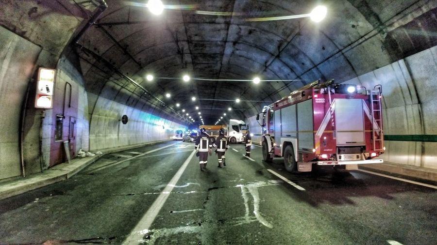 TUNNEL TRUCK CRASH SIMULATION Firefighter Fire Truck Truck Crash Simulation TRUCK CRASH DRILL Emergency Simulation Tunnel Illuminated Transportation Real People The Way Forward Public Transportation