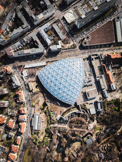Blue Building City DJI X Eyeem From Above  Leipzig Winter Zoo Leipzig Aerial View Architecture Building Built Structure City Cityscape Contrast Day Dronephotography High Angle View Modern Vs Old Outdoors Residential District Triangle Shape