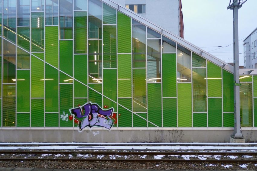 Dangerous place for street art Station Street Art Graffiti Train Station Tracks Älvsjö Älvsjö Station Built Structure Architecture Colour Your Horizn