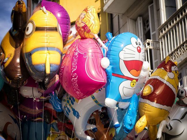 Balloons Brightly Colored Toy Brightly Coloured Children Toys Choice Collection Colorful Colorfull Colourful Cultures Day Decoration Doraemon Inflated Toys Large Group Of Objects Minions Multi Colored No People Outdoors Retail  Sealed Sealed Toy Side By Side Toys Winnie The Pooh