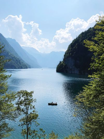 Mountains Königssee Bavaria Germany Boat Water Tree Sky Beauty In Nature Scenics - Nature Plant Tranquility Lake Nature Day Tranquil Scene Non-urban Scene Transportation