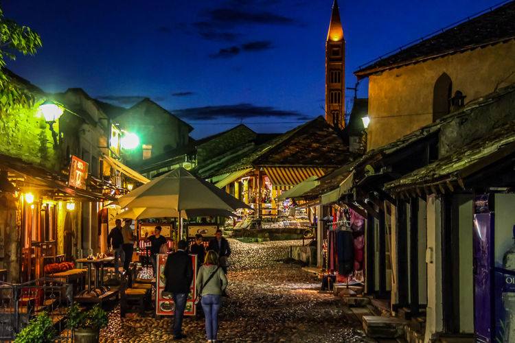 Mostar Mostar Bosnia Night Photography Old Town Iluminated Night Night Sky Streat