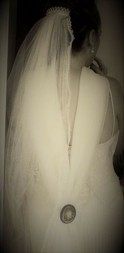 Wedding dress. One Woman Only Beautiful Woman Indoors  White Gown