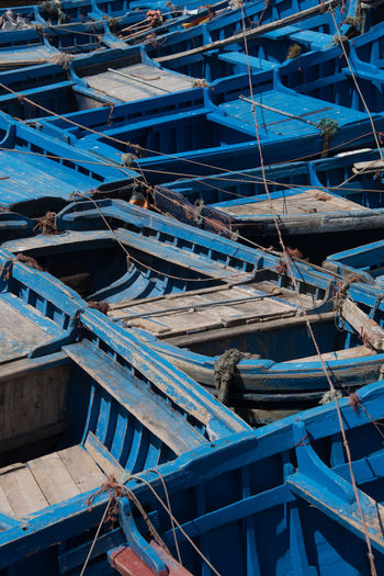 Blue Boat Close-up Day Fishing Fishing Boat Fishing Industry Harbor High Angle View In A Row Mode Of Transportation Moored Nature Nautical Vessel No People Outdoors Pier Port Rope Rowboat Sunlight Transportation Water Wood - Material