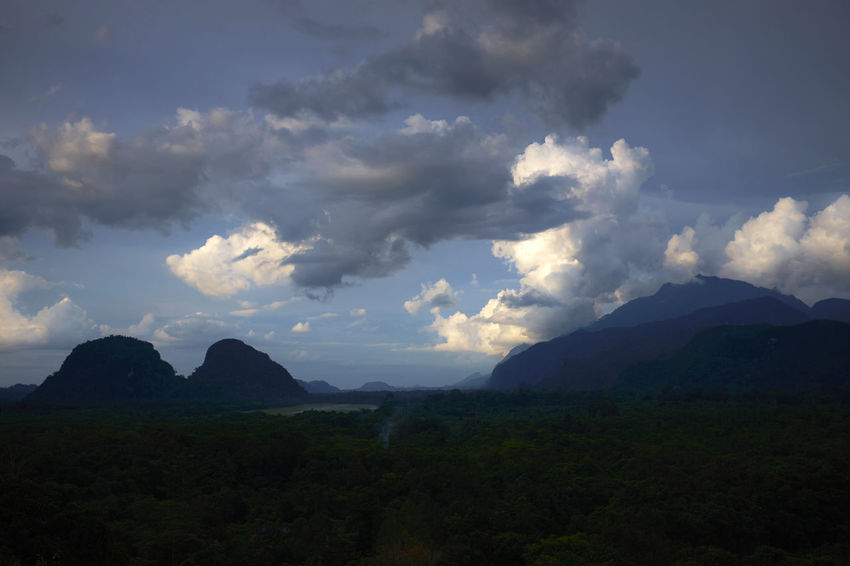 Cloudy sky with last light of the day over some mountain formations at the Gunung Mulu National Park in Borneo Borneo Clouds Clouds & Sky Malaysia Mountain Nature Open Space Sarawak