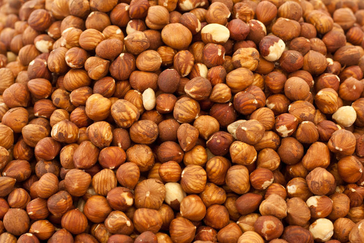 Full frame shot of hazelnuts at market stall