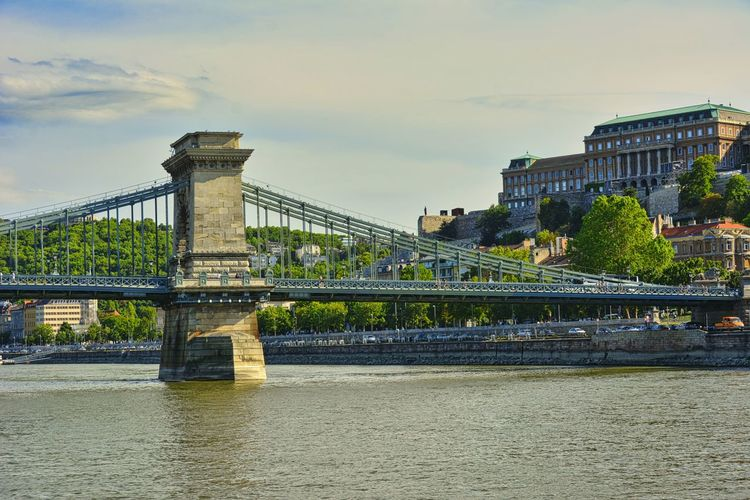 The széchenyi chain bridge is a chain bridge that spans the river danube
