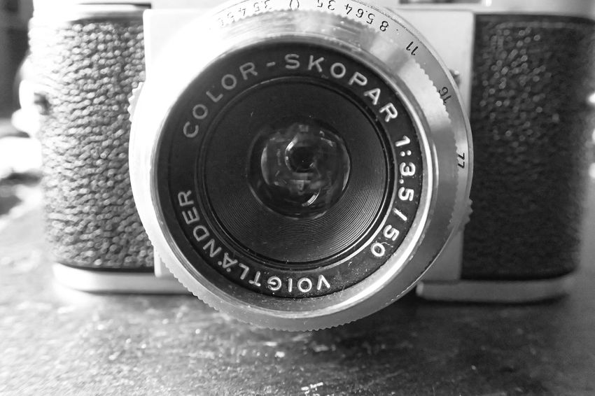 From a box of 4 old cameras I bought in a charity shop Black And White Camera - Photographic Equipment Charity Shop Close-up Lens Low Angle View Photography Themes Skopar Voigtländer