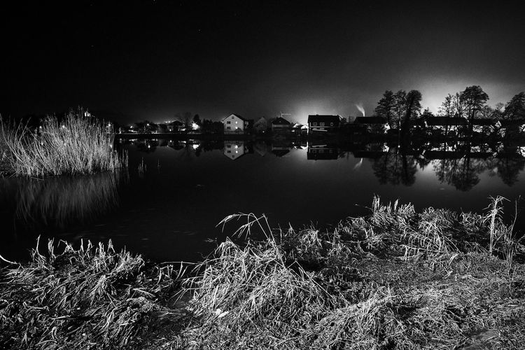 Naab River Nachts An Der Naab Reflection Water Night No People Outdoors Sky Nature