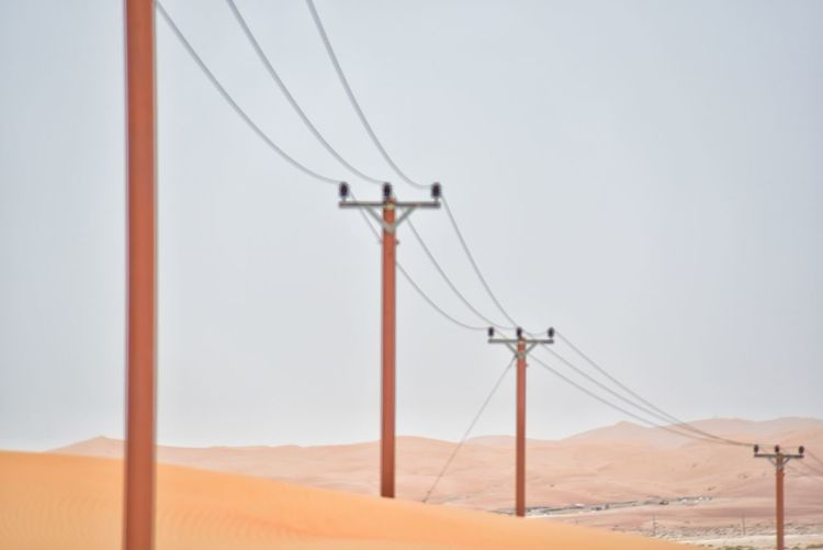 Electricity pylon on land against clear sky