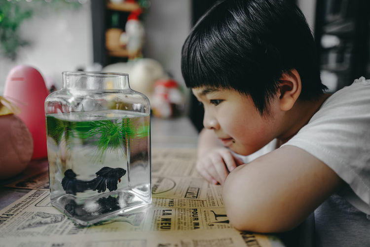 Portrait of boy looking at glass table