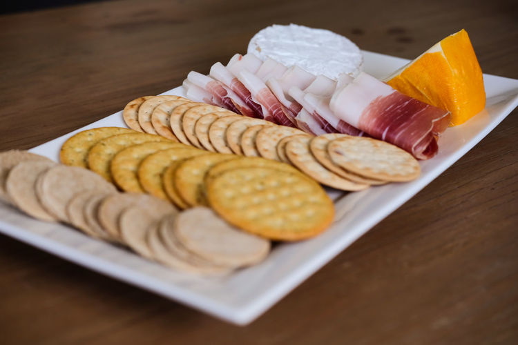 Cheese, crackers and Palma ham Brie Cheese And Biscuits Close-up Crackers Crackers And Cheese Food Food And Drink Freshness Indoors  No People Parma Ham Port Salut Ready-to-eat Food Stories