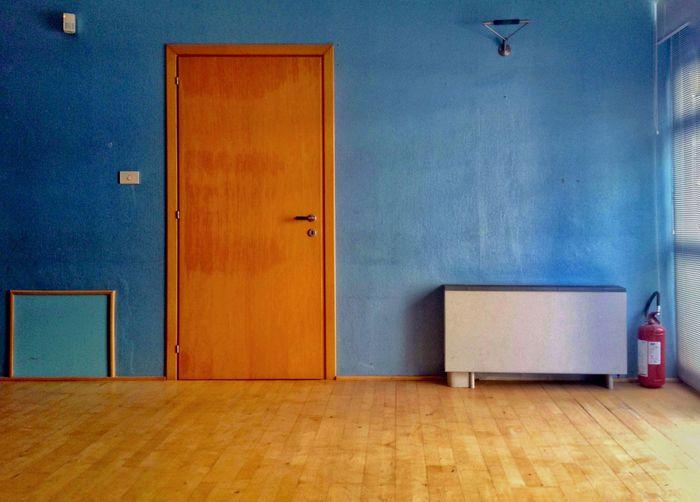 Empty interior with closed door