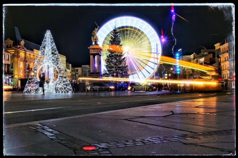 Ferris Wheel Illuminated Amusement Park Christmas Decorations Tramway Crossing Tramway Sign