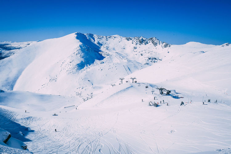 Aerial view of snow covered landscape against blue sky