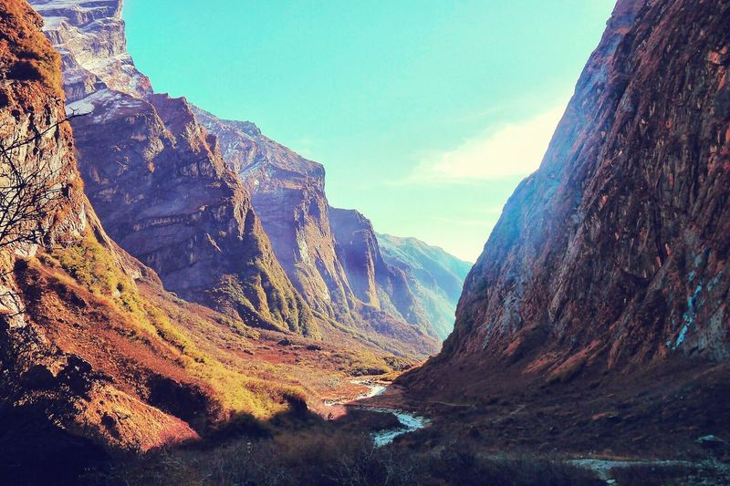 Nepal, way to Annapurna Base Camp Mountain Nature Nepal Nepal #travel Travel Valley Sky View No People Day Sunlight Travel Destinations Beauty In Nature Rocks Outdoors Landscape first eyeem photo