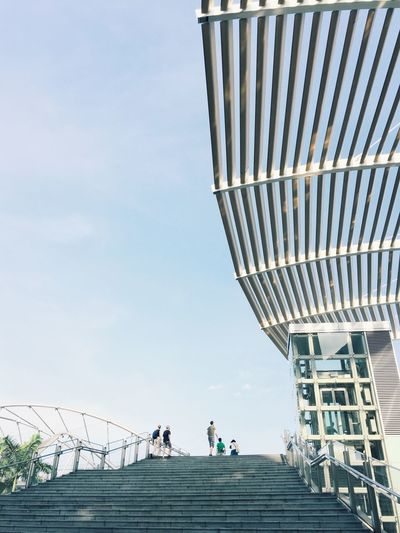 Low Angle View Of Staircase At Marina Bay Sands Against Sky
