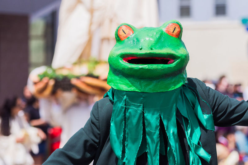 Person wearing frog costume during parade