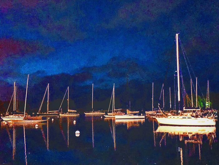 Water Nautical Vessel Night Transportation Sky Reflection Mode Of Transportation Sailboat Pole No People Lake Blue Harbor Outdoors Marina