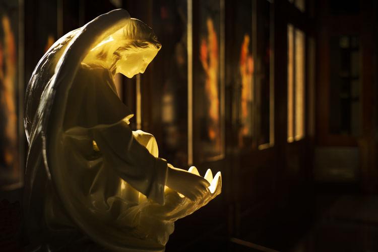 Holy Water Basin Angel Angel Statue Catholic Catholic Church Gold Holy Water Basin Indoors  Leicam240 Light And Shadow Summicron 35mm