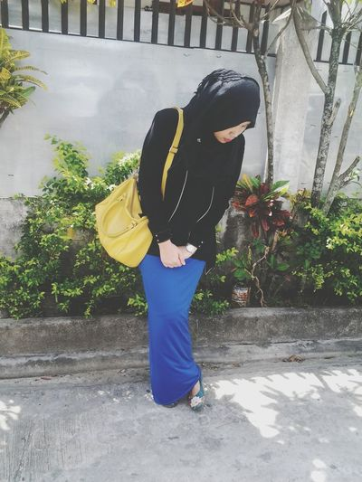 my first ever OOTD Taking Photos Selfie Hijabi Ootd