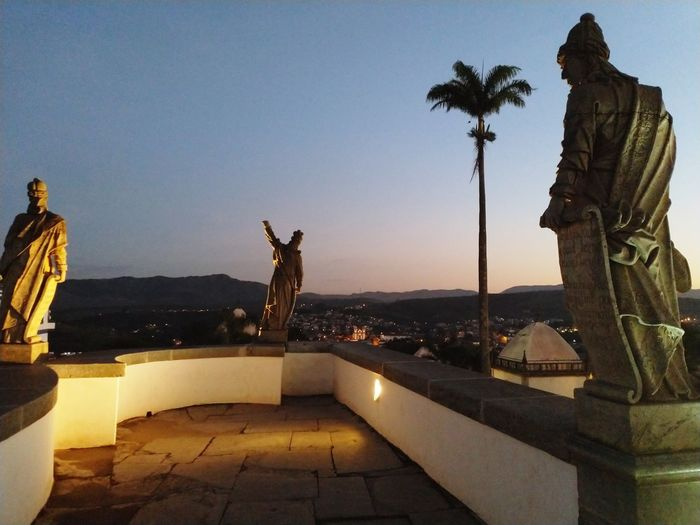 """ E o profeta guia..."" Statue Sculpture Travel Destinations Sky Night Illuminated"