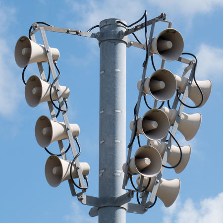 16 speakers Attention Announcement Broadcast Close-up Cloud - Sky Communication Day Loud Low Angle View No People Outdoors Sky Speaker Technology