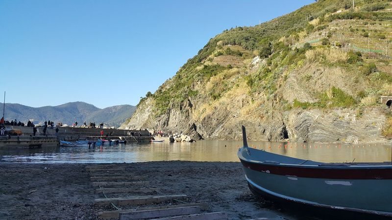 Cinque Terre Italy Vernazza Outdoors Clear Sky Beautiful Day Boat Blue Sky Hillside Peace And Quiet Peaceful Vacation Tourist Destination EyeEm Gallery Phone Photography Phone Camera By The Sea Betterlandscapes Neighborhood Map