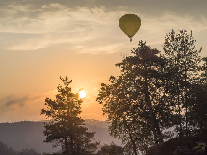 National Park Orange Sky Air Vehicle Balloon Bastei Beauty In Nature Cloud - Sky Flying Hot Air Balloon Nature No People Outdoors Rocks Sachsen Saxony Switzerland Scenics - Nature Silhouette Sky Sun Sunset Sächsische Schweiz Tranquil Scene Tranquility Transportation Tree EyeEmNewHere
