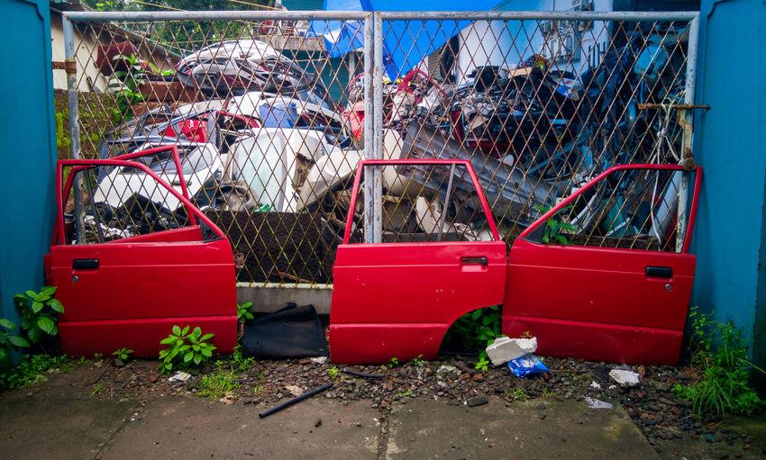 Red car doors