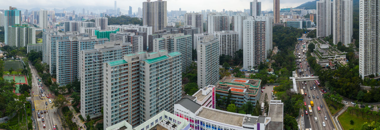 Hong Kong Wong Tai Sin Lok Fu City Urban Downtown Outdoor Kowloon Side District Hong Kong Top View Skyline Building Cityscape Midtown Architecture High Landmark Famous Skyscraper Sky Panorama Street Aerial Fly Drone  Over Above Down Top Down Bird Eye Hk Hong Kong